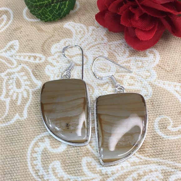 Kaki Jo's Closet Jewelry - Land Scape Jasper Sterling Silver Plated Earrings